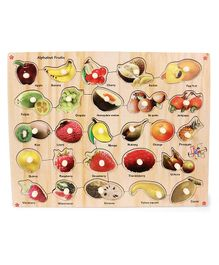 Kinder Creative Wooden Alphabet Fruits With Knobs Puzzle - Multicolor