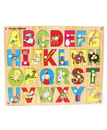 Kinder Creative Wooden Pictured Alphabet With Knobs Puzzle - Multicolor