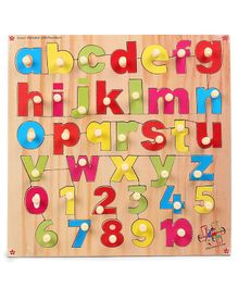 Kinder Creative Wooden Small Alphabet & Number With Knobs Puzzle - Multicolor