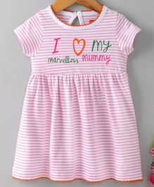 Babyhug Half Sleeves Striped Frock Text Print - Pink
