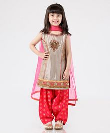 Babyhug Salwar Kurta Set With Dupatta - Ivory & Rose Pink