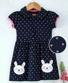 Babyhug Short Sleeves Frock Heart Print - Navy