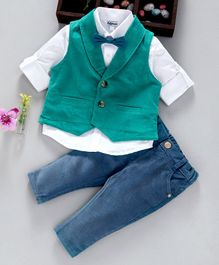 ToffyHouse 3 Piece Party Suit With Bow Tie - Blue Green