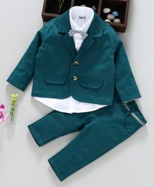 ToffyHouse 3 Piece Party Suit With Bow Tie - Dark Green