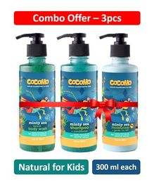 Cocomo Minty Sea Range Face & Body Wash Moisturizer With Shampoo Pack of 3 - 300 ml Each