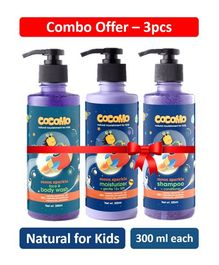 Cocomo Moon Range Sparkle Face & Body Wash Moisturizer With Shampoo Pack of 3 - 300 ml Each