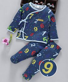 ToffyHouse Full Sleeves Night Suit Numeric Print - Navy