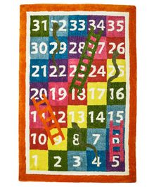 NHR Premium Quality Handwoven Snakes & Ladder Themed Kids Rug - Multicolour