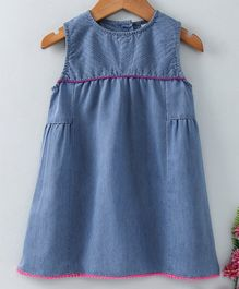 Babyhug Sleeeveless Solid Denim Frock - Blue