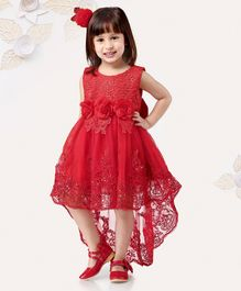 Mark & Mia Sleeveless Frock With Lace Pattern & Flower Corsages - Red