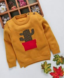 Kookie Kids Cactus Design Full Sleeves Sweater - Brown