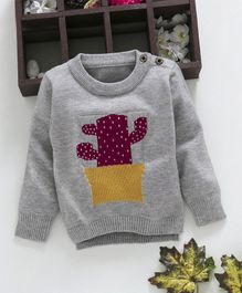 Kookie Kids Cactus Design Full Sleeves Sweater - Grey