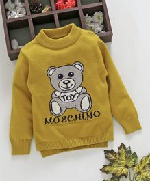Kookie Kids Teddy Design Full Sleeves Sweater - Yellow