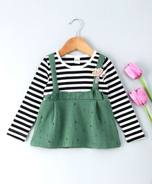 Menga Wa Full Sleeves Striped Dress With Bow Applique - Green
