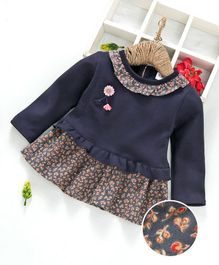 Kookie Kids Floral Printed Full Sleeves Dress - Navy