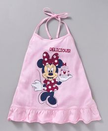 Bodycare Halter Neck Frock Minnie Mouse Print - Pink