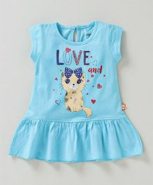 Bodycare Short Sleeves Frock Cat Print - Blue