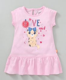 Bodycare Short Sleeves Frock Cat Print - Pink