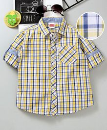 Babyhug Full Sleeves Checks Shirt - Yellow