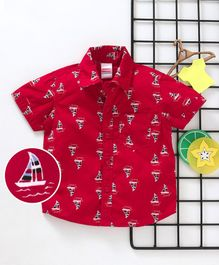 Babyhug Half Sleeves Shirt Ship Print - Red