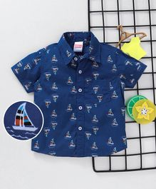 Babyhug Half Sleeves Shirt Ship Print - Blue