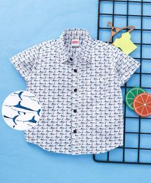 Babyhug Half Sleeves Poplin Shirt Shark Print - White Blue