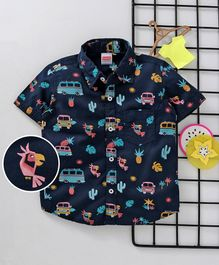 Babyhug Half Sleeves Shirt Allover Print - Blue