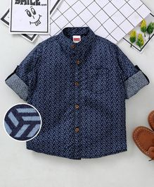 Babyhug Full Sleeves Printed Shirt - Navy Blue