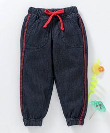 Babyhug Full Length Jogger Jeans With Drawstring - Dark Blue