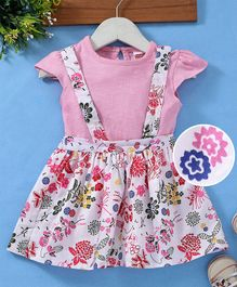 Babyhug Floral Printed Dungaree Frock With Inner Solid Tee - Pink White