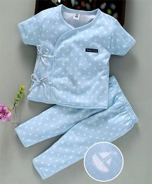 ToffyHouse Half Sleeves Night Suit Boat Print - Light Blue