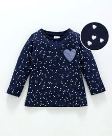 Simply Full Sleeves Tee Allover Heart Print - Navy Blue