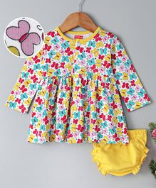 Babyhug Full Sleeves Cotton Frock With Bloomer Butterfly Print - Yellow