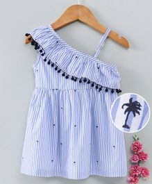 Babyhug Sleeveless Frock Stripes - Blue White