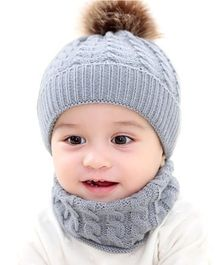 Ziory Knitted Baby Beanie Cap & Scarf Set - Grey
