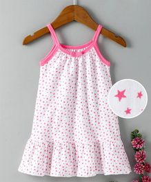 Babyhug Sleeveless Cotton Frock Stars Print - Pink
