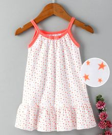 Babyhug Sleeveless Cotton Frock Stars Print - Orange