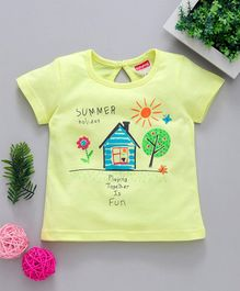 Babyhug Half Sleeves Tee Summer Holiday Print - Yellow