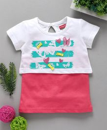 Babyhug Short Sleeves Crop Top With Inner Tee Heart Print - White Pink