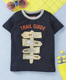 Babyhug Half Sleeves Tee Trail Guide Print - Navy Blue