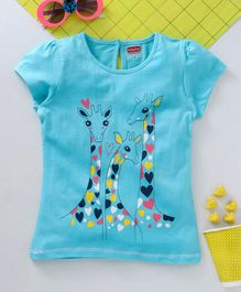 Babyhug Short Sleeves Tee Love Giraffe Print - Blue