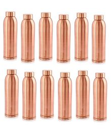 Hazel Vaman Copper Water Bottle Set of 12 - 900 ml Each