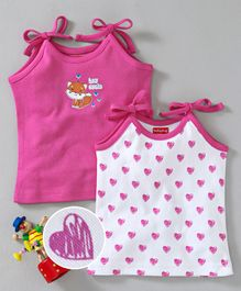 Babyhug Shoulder Tie Vests Bunny & Hearts Print Pack of 2- Pink