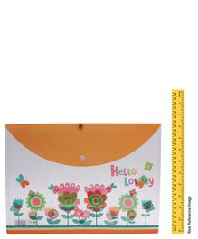 Envelope Folder Pouch Flower Print - Orange