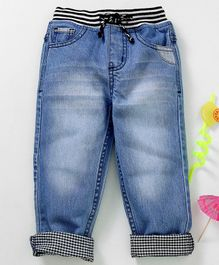 Babyhug Full Length Jeans With Drawstring - Light Blue