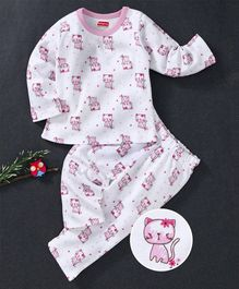 Babyhug Full Sleeves Night Suit Kittens Print - White Pink
