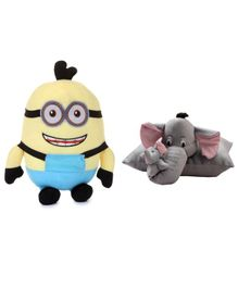 Deals India Smiling Stuff Toy & Folding Elephant Pillow Yellow & Grey - Pack of 2