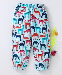 Babyhug Full Length Fleece Lounge Pant Deer Print - Light Blue