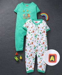 Babyhug Half Sleeves Cotton Romper Animal & Alphabet Print Pack of 2 - Green