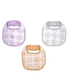 Kaarpas Premium Organic Cotton Muslin Bibs with Charming Patterns of Lines Circles & Squares Pack of 3 Multicolor - Large